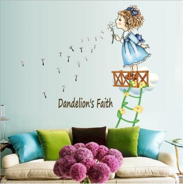 Decal trang trí tường - Bé Gái leo dây thang thổi Bồ Công Anh sắc màu