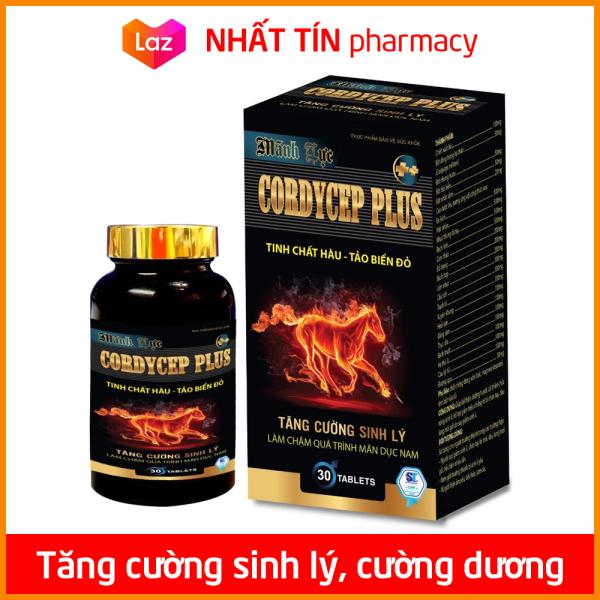Viên uống tăng cường sinh lý nam Cordycep Plus bổ thận tráng dương, giảm đau lưng mỏi gối - Hộp đen 30 viên - NHẤT TÍN PHARMACY
