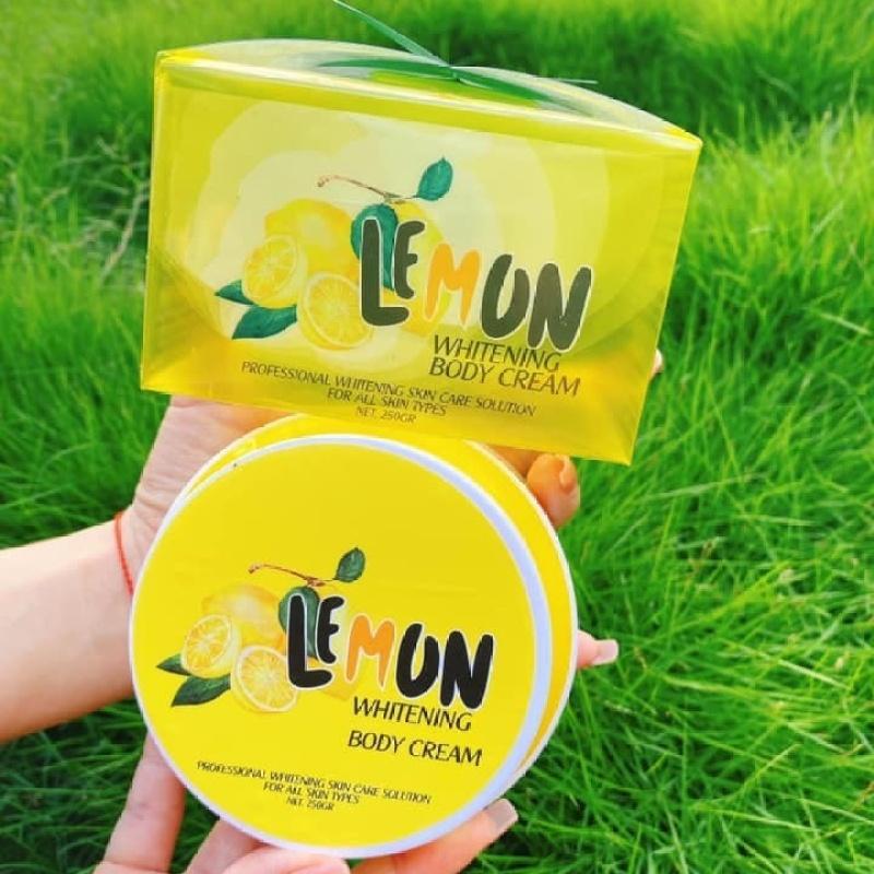 Kem body Lemon chanh 250gr có hạt dưỡng trắng tặng kèm hũ kích trắng x6 – LQ309