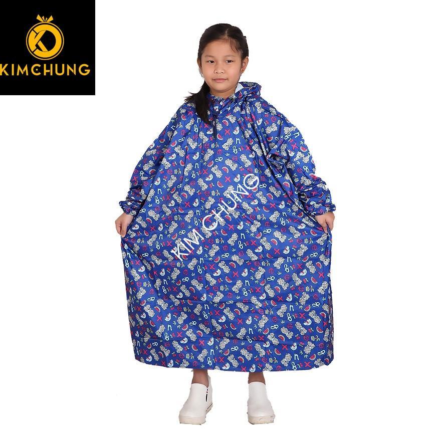 Áo mưa bít trùm kín, áo mưa trẻ em vải dù cao cấp (Màu ngẫu nhiên)