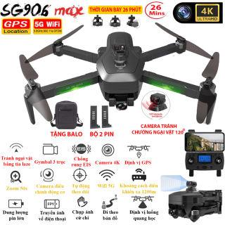 BỘ 2 PIN + TẶNG TÚI ĐỰNG - Flycam SG906 MAX Camera 4K Tự động TRÁNH VẬT CẢN bằng tia Lazer Gymbal 3 trục Định vị GPS WIFI 5G Camera điều chỉnh lên xuống 110 độ Zoom 50X - BẢO HÀNH 12 THÁNG