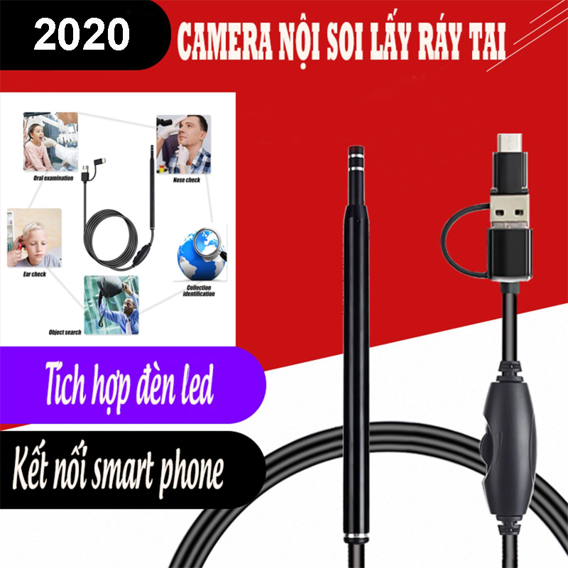 Camera nội soi mini, Camera nội soi y tế soi tai, mũi, họng kiêm máy lấy ráy tai HD Visual Earwas Clean Tool ⭐ cho hình ảnh sắc nét ⭐ Bảo hành uy tín