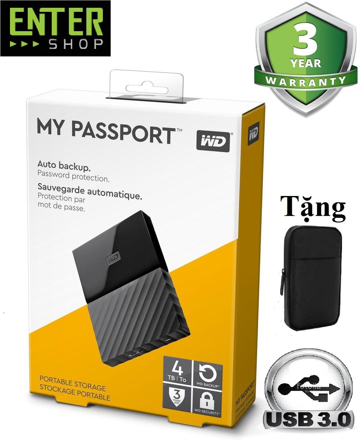Ổ Cứng Di Động WD My Passport 4Tb + Tặng Túi Bảo Vệ Giá Cực Ngầu