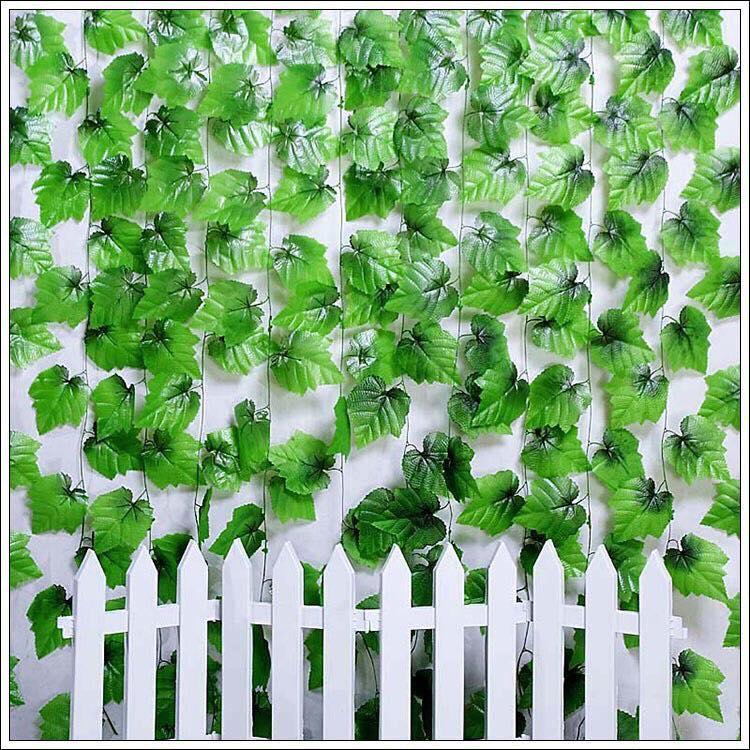 Dây lá giả trang trí, Dây lá nho dài 2m4 trang trí sân vườn - trang trí quán cà phê, nhà hàng, đám cưới
