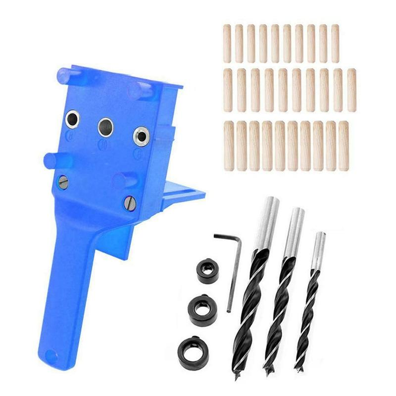 38Pcs Handheld Pocket Hole Jig Drill Handheld Dowel Woodworking Jig Drilling Guide DIY Tool Kit