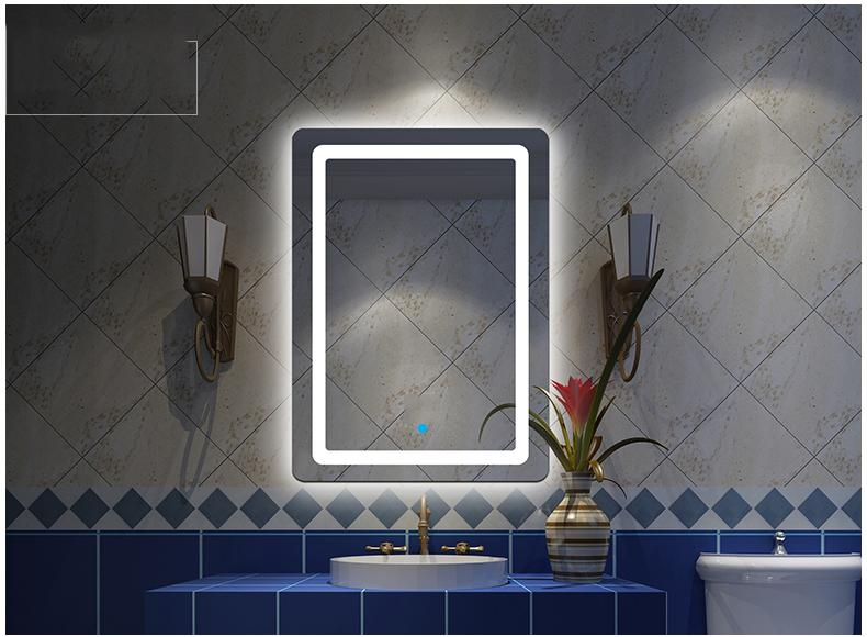 Gương đèn led phòng tắm SMHome GNT02 500 x 700mm - Tích hợp đèn led và công tắc cảm ứng trên gương Nhật Bản