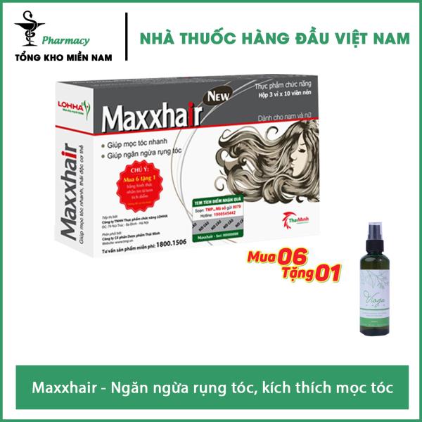 [HCM]Maxxhair-hộp 30 viên- ( Mua 6 hộp tích điểm đổi 1 hộp ) TẶNG NGAY 1 XỊT Vioga Hair 100ml cao cấp