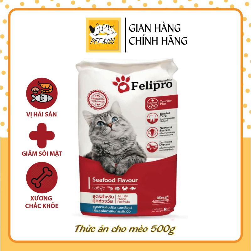 Thức ăn hạt cho mèo cao cấp Felipro Vị hải sản, gói 500g