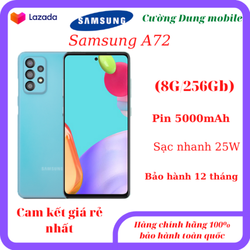 Điện thoại Samsung A72 8G/256Gb pin 5000mAh, sạc nhanh 25W, màn hình Amolet cực đẹp.