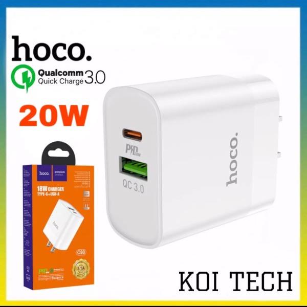 Củ sạc nhanh hoco c80 2 cổng sạc 1 cổng usb 1 cổng type c PD 20W QC3.0 - cốc sạc nhanh ổn định dòng điện quick changre 3.0 cho iphone samsung...vv