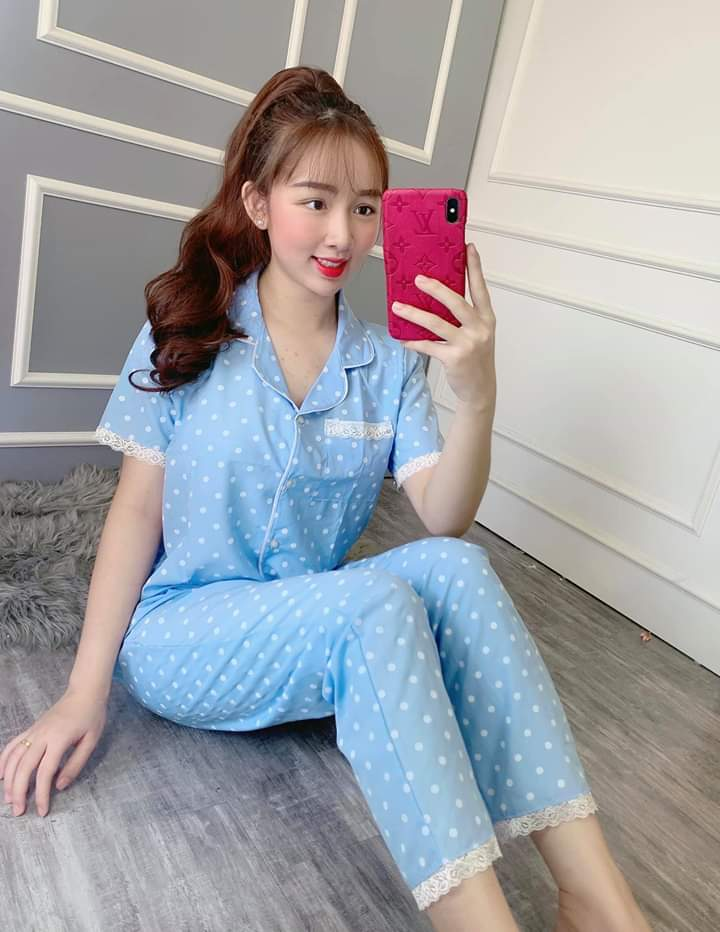 MUA 2 FREESHIP Đồ Bộ Pijama Tay Ngắn Quần Dài Vải Kate Lụa Mềm Mịn Phối VIỀN Siêu Xinh Dưới 57kg CAM KẾT GIAO ĐÚNG MẪU Nguyên Khánh Store