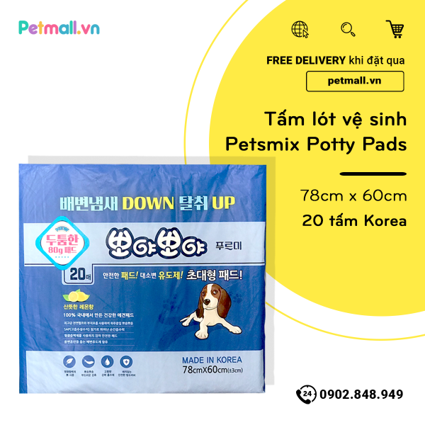 Tấm lót vệ sinh Petsmix Potty Pads 78cm x 60cm - 20 tấm Korea