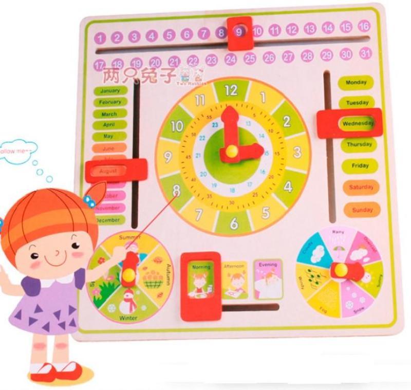 Đồ chơi Montessori đồng hồ học thời gian thời tiết bằng Tiếng Anh