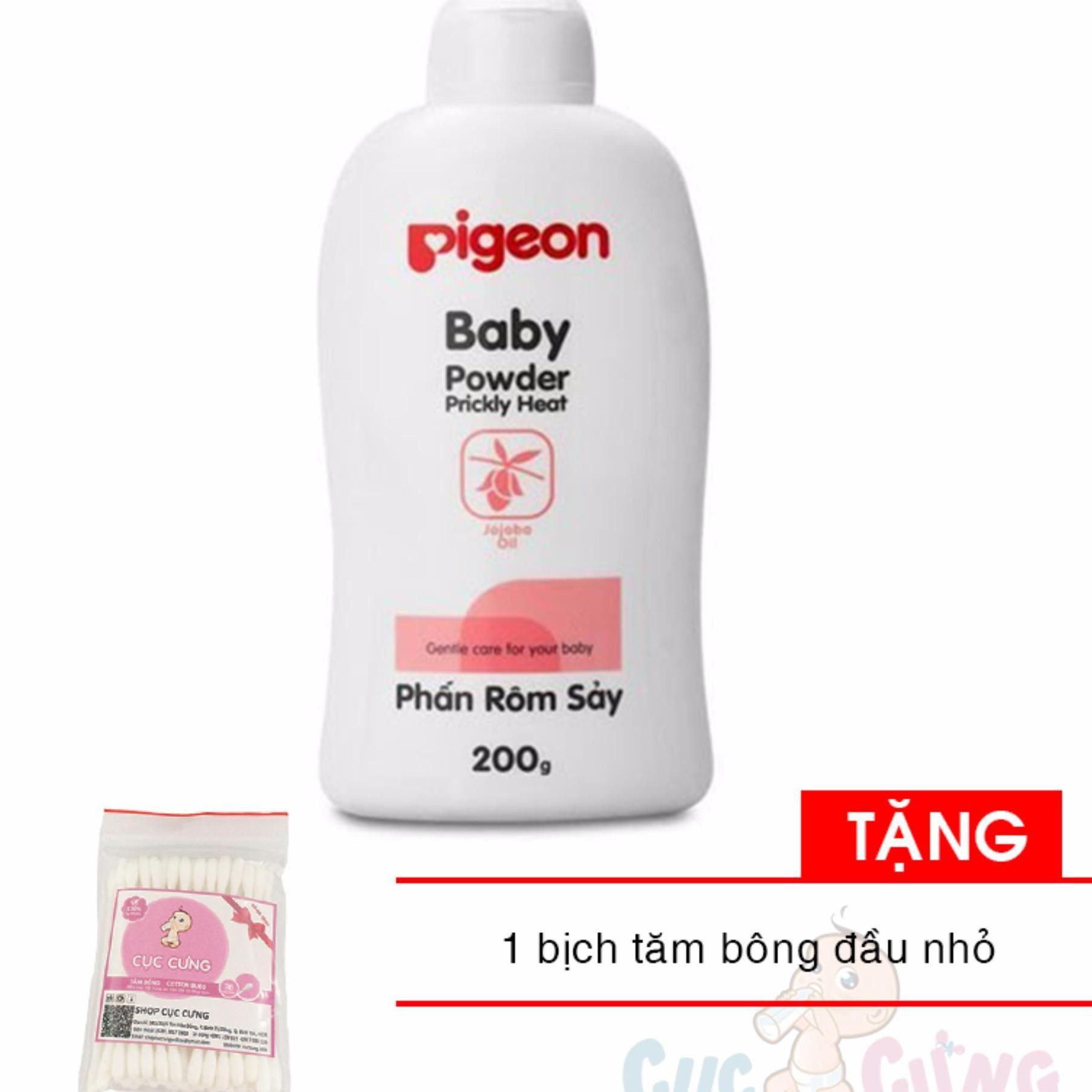 Phấn Thơm Pigeon Cho Bé 200G - tặng bịch bông tăm đầu nhỏ cho bé