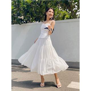 RECHIC Váy Kirany Màu Trắng Xòe Dáng Dài xinh xắn trẻ trung thumbnail