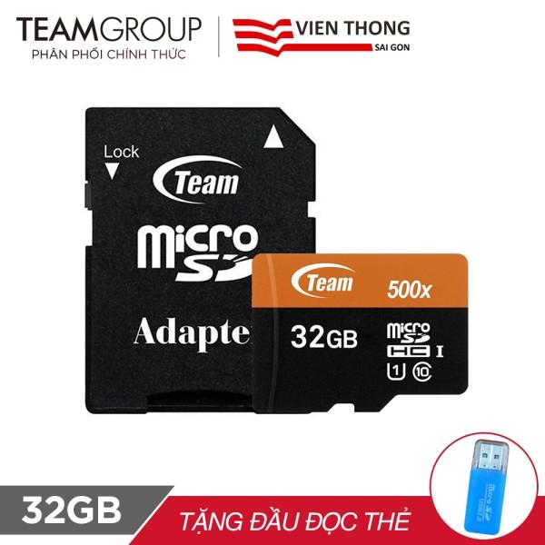 THẺ NHỚ MICROSDHC TEAM 32GB 500X UPTO 80MB-S CLASS 10 U1 KÈM ADAPTER +ĐẦU ĐỌC THẺ (PT)