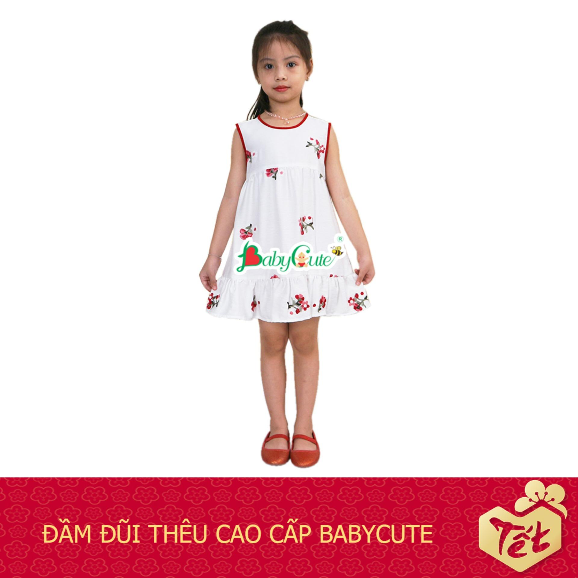 Giá bán Đầm đũi thêu hoa cao cấp BabyCute cho bé gái từ 10 - 35kg