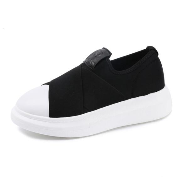 Giày lười vải độn đế đen vá trắng - giày nữ sneaker giầy bata độn đế đi học thời trang ullzang hàn quốc đẹp giá rẻ dưới 100k hot 2020 giá rẻ