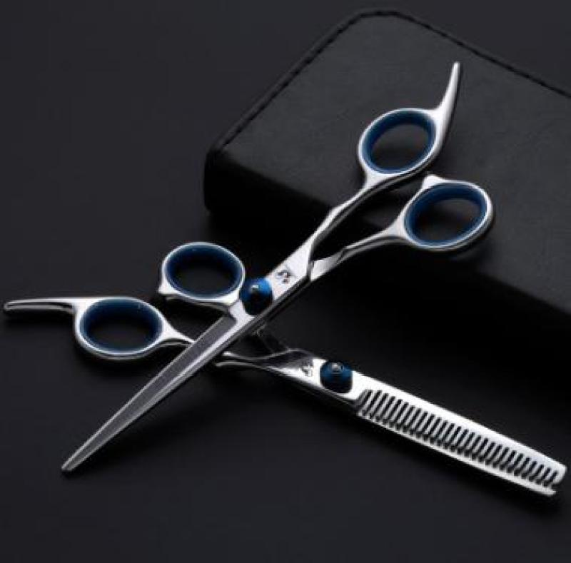 Bộ 2 Kéo cắt và tỉa tóc SASSOON chuyên dụng (tai xanh) cao cấp