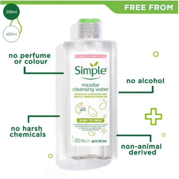 Nước tẩy trang Simple Kind to Skin Micellar Cleansing Water 200ml
