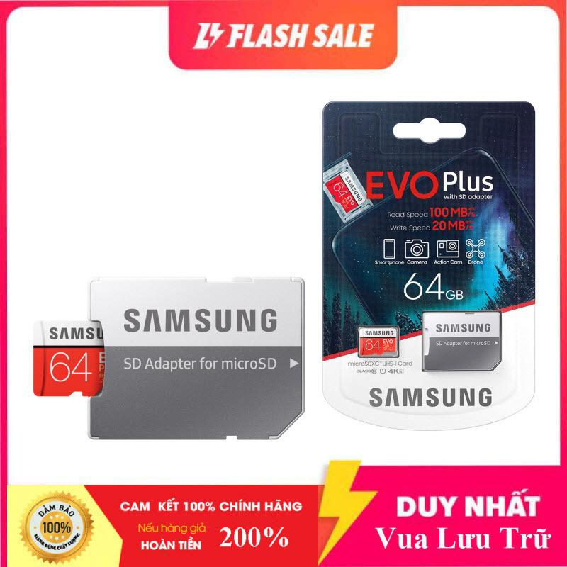 [Flash Sales] Thẻ nhớ MicroSDXC Samsung Evo Plus 64GB U3 4K- W60MB-R100MB - box Anh New 2020 (Đỏ) + Kèm Adapter