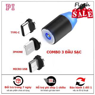 Cáp sạc từ hút nam châm đầu Iphone micro USB Type C xoay 360 độ dây dù,có LED cao cấp thumbnail