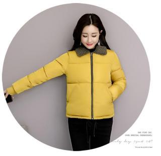 Áo khoác phao nữ cổ bẻ bông màu Vàng-M thumbnail