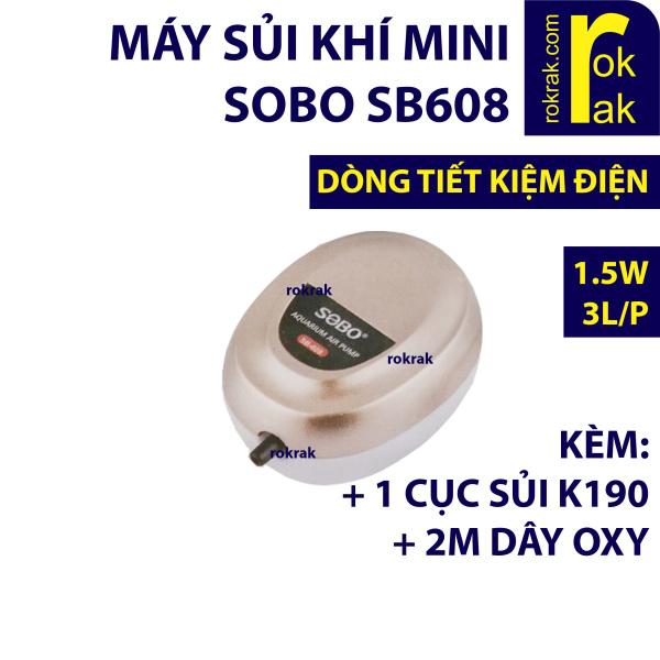 Máy sục sủi khí oxy 1 vòi 1.5W SOBO SB-608 tiết kiệm điện có tặng kèm 2m dây và 1 cục sủi