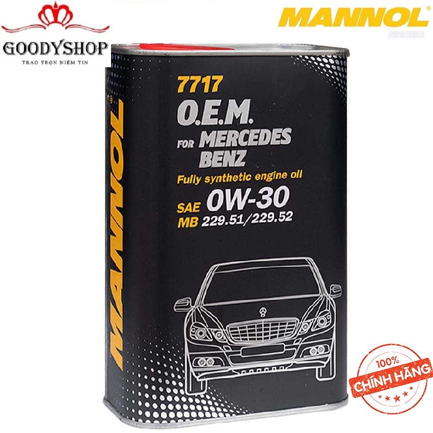 (Cao Cấp) Nhớt MANNOL 0W-30 SN/CF O.E.M Cho Xe Mercedes Benz 7717 – 4 Lít Hàng Đức Cao Cấp Nhập Khẩu GOODYSHOP