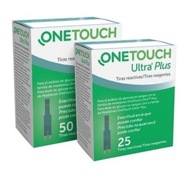 Nơi bán [Tặng 2 bông tẩm cồn] Hộp 25 Que thử đường huyết One touch Ultra plus, thử tiểu đường hãng onetouch
