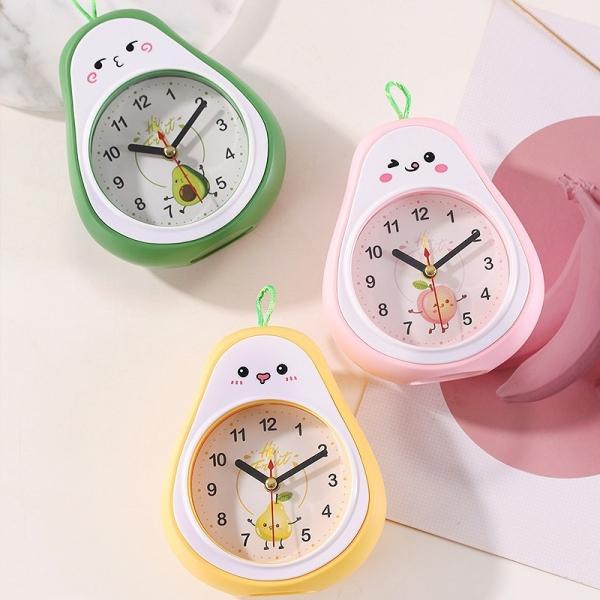 Đồng hồ báo thức hình quả bơ dễ thương có 3 màu xinh xắn, Đồng hồ báo thức để bàn mini có móc treo
