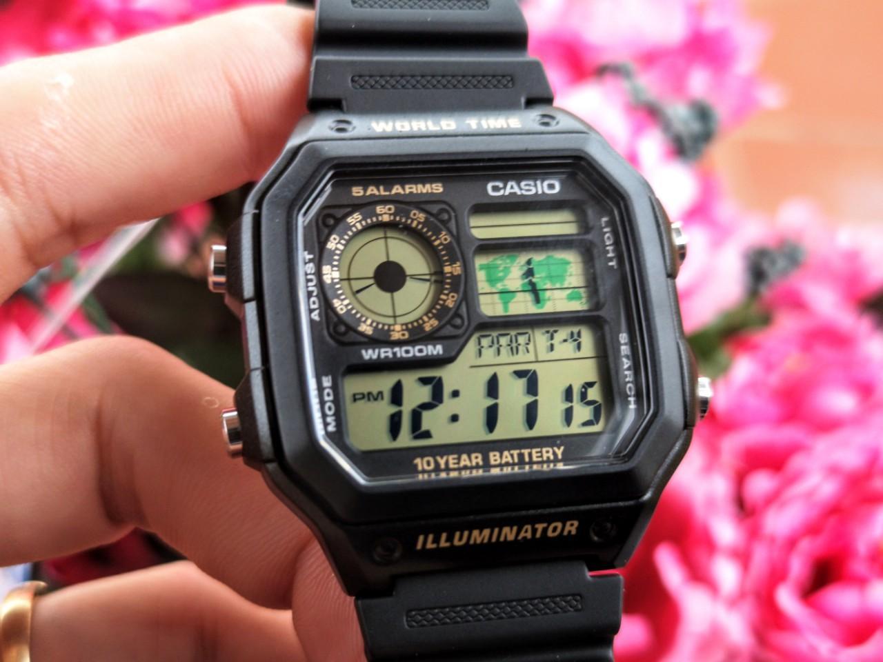 Đồng hồ nam dây nhựa Casio AE-1200WH-1BVDF + Tặng kèm vòng tay theo cung bán chạy