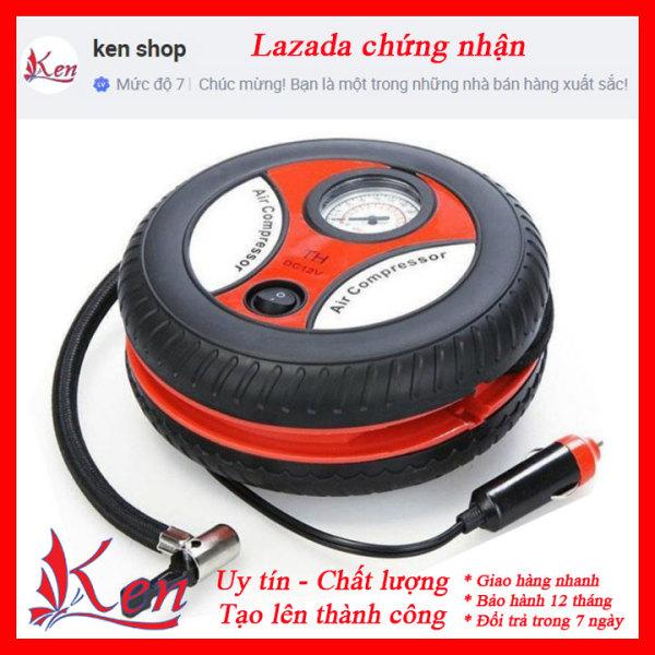 Máy bơm lốp ô tô mini- Máy bơm mini cứu hộ nhanh gọn- Bơm tròn cho xe hơi xe máy mini- Bơm lốp ô tô có đồng hồ
