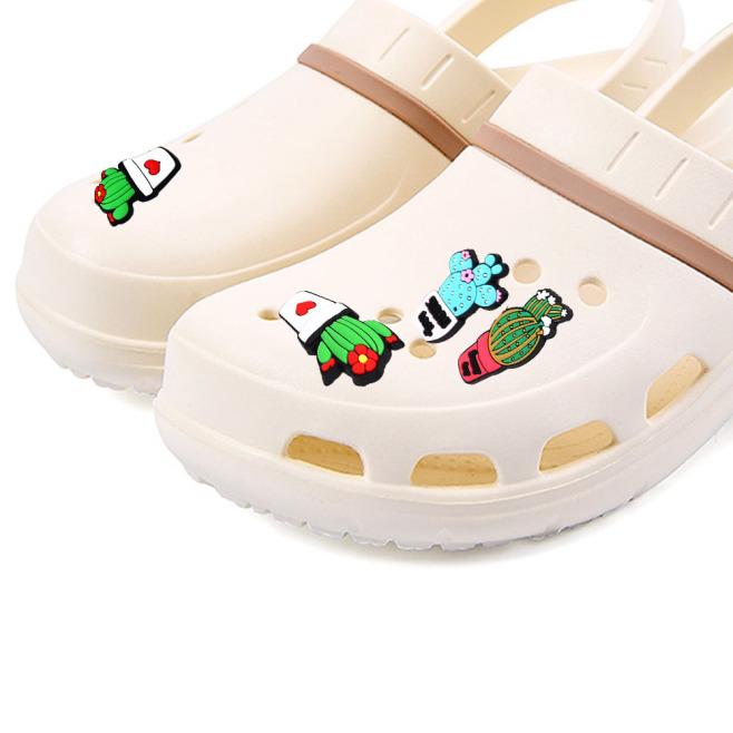 FGJEB Cái/bộ 5 Món Đồ Trang Trí Giày PVC Cho Trẻ Em Trang Trí Giày, Phụ Kiện Giày, Xương Rồng giá rẻ