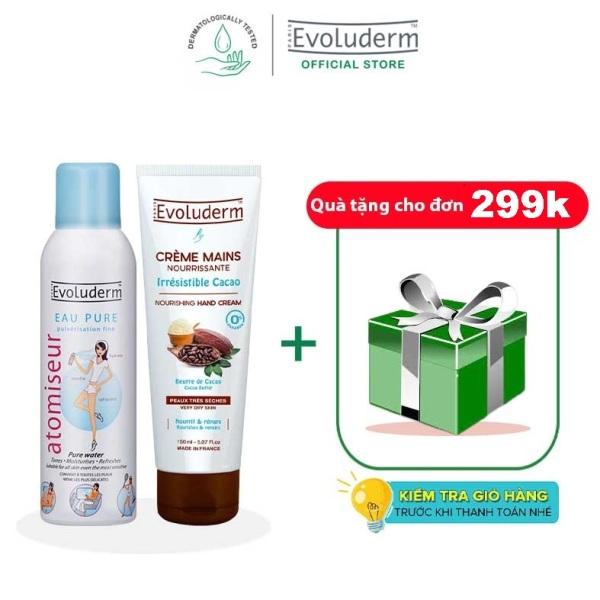 Bộ 2 sản phẩm xịt khoáng dưỡng ẩm 150ml và kem tay bơ cacao 150ml evoluderm cao cấp