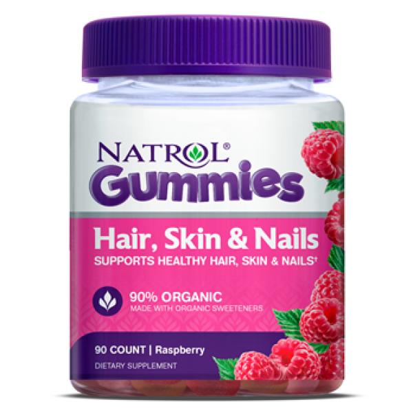 Kẹo dẻo Natrol Gummies Hair, Skin & Nails Gummies Beauty Raspberry 90 viên vị mâm xôi của Mỹ - Natrol Hair Skin Nail tóc cho da tóc móng giá rẻ