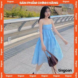 Váy hai dây dài khoét nơ lưng xanh nhạt nhạt tingoan L.A LADY MIDI DRESS BLUE thumbnail