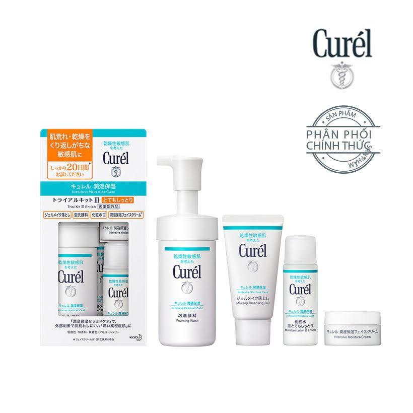 Bộ Chăm Sóc Da Cấp Ẩm Chuyên Sâu III Curel Intensive Moisture Care III Enrich Trial Kit (Foaming Wash 90ml + Intensive Moisture Cream 10g, Makeup Cleansing Gel 30g + Moisture Lotion III Enrich 30ml) nhập khẩu