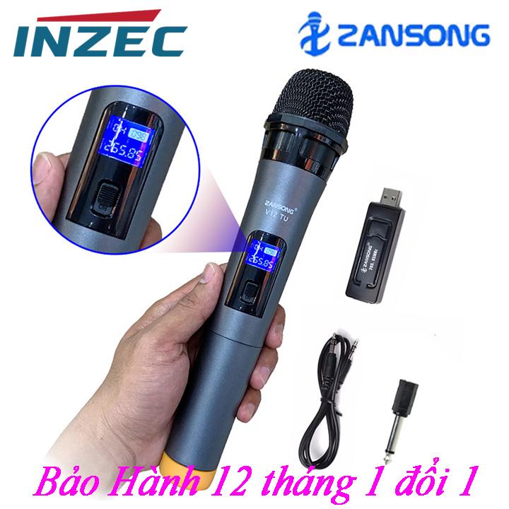 Micro Karaoke không dây V-12 nàm hình LCD, dành cho Amly ,  loa kéo loa karaoke bluetooth JBZ, SANSUI, ZANSONG, DAILE, ISKY, JBL,... - Micro không dây giá rẻ - Hỗ trợ các thiết bị có jack cắm 3.5mm và 6.5mm - INZEC