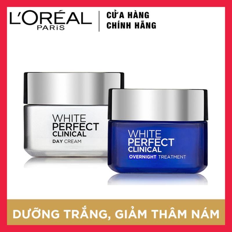 Bộ kem dưỡng trắng và giảm thâm nám chuyên sâu ngày và đêm LOreal Paris White Perfect Clinical 50ml nhập khẩu