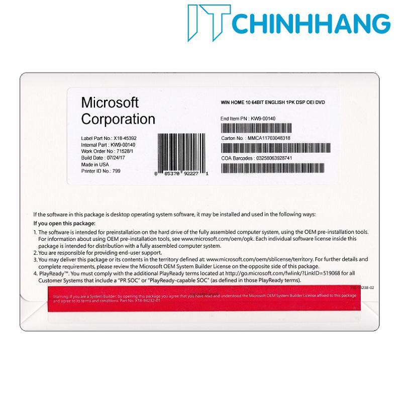 Phần mềm Microsoft Windows 10 Home 64-bit