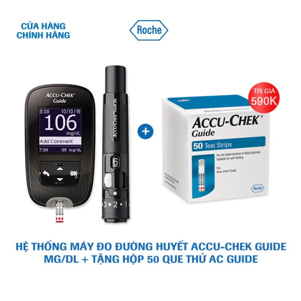 Hệ thống máy đo đường huyết Accu-Chek Guide mg/dL + Tặng Hộp 50 que thử AC Guide bán chạy