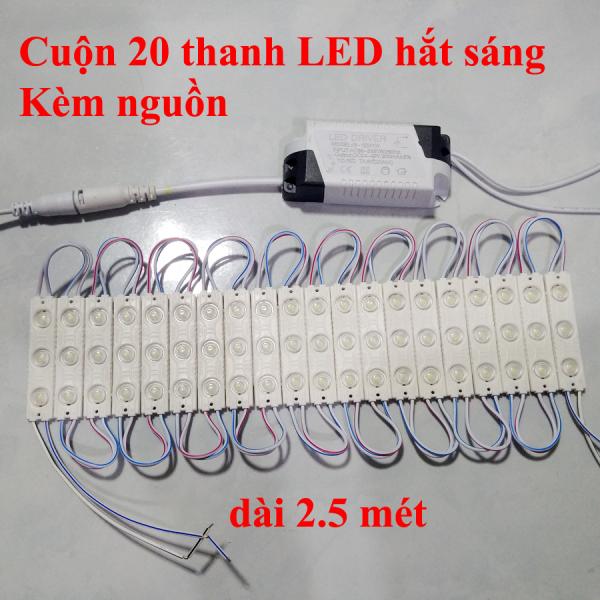 Cuộn 20 Thanh LED Hắt Sáng kèm nguồn 12V Chống nước Gắn Logo Bảng Hiệu, Tủ kệ bếp Cực Sáng (Kèm nguồn DC12V)