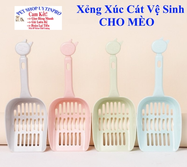 [HCM]XẺNG XÚC CÁT VỆ SINH CHO MÈO Dọn vệ sinh phân cho mèo Thiết kế hình đầu mèo ở đầu cán xẻng Dài 25cm