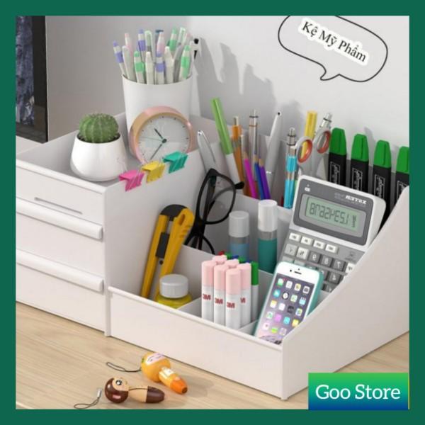 Kệ đựng mỹ phẩm 3 tầng - Tủ đựng đồ trang điểm mini có ngăn kéo tiện dụng giá rẻ