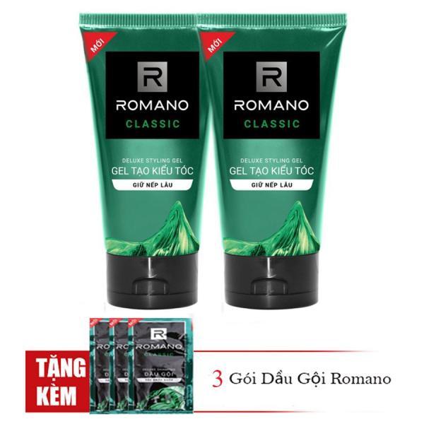 Romano: Combo 2 Tuýp Gel vuốt tóc giữ nếp lâu, mềm tóc Romano Classic (150ml*2)+Tặng 3 gói dầu gội giá rẻ