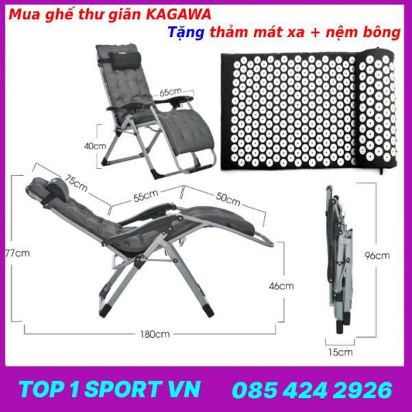 Ghế gấp xếp thư giãn văn phòng ngủ trưa KAGAWA thế hệ 4.0 - Tặng kèm thảm yoga mát xa bấm huyệt toàn thân + nêm bông cao cấp