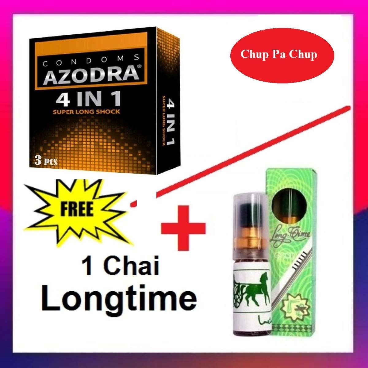 [Mua 1 Tặng 1] Combo 1 hộp Bao cao su gân gai kéo dài thời gian AZODRA tặng 1 Chai Xịt Longtime