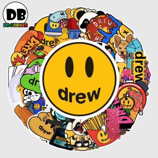[Set 54 Hình] Sticker thương hiệu Drew nhiều họa tiết chống nước, dán trang trí laptop, mũ bảo hiểm, vali, xe ga - DB.009