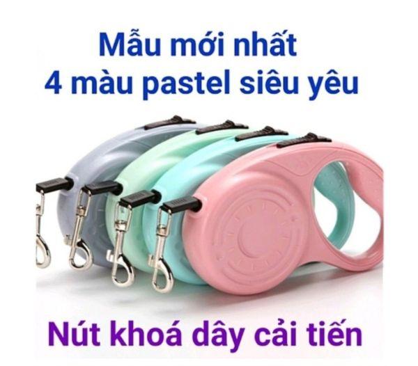 Dây Dắt Chó Mèo Tự Động Thu Gọn - 4 màu pastel chanh xả - cải tiến nút khoá lẫy tiện dụng